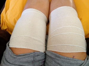 Ace Bandage-wrapped knees